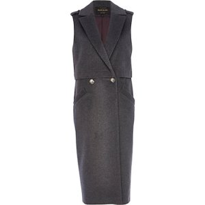 RIVER ISLAND Dark grey sleeveless trench coat - £80