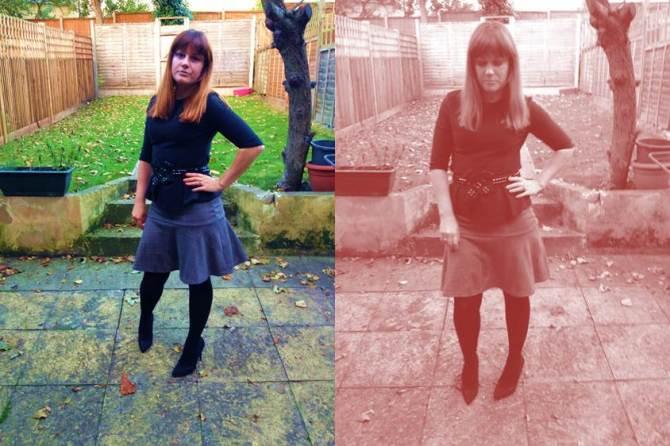 Stilletos, Primark, £12; Skirt, Primark, £6; Peplum 3/4 length sleeve top, Primark, £8; Belt, xmas present