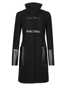 M&S COLLECTION Wool Blend Leather Trim Coat - £150